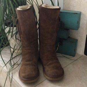 UGG Cargo Chestnut Zip Up Buckle Boots
